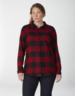 Chemise en flanelle à motif tartan à manches longues pour femmes taille plus - Buffalo Aged Brick (UP2)