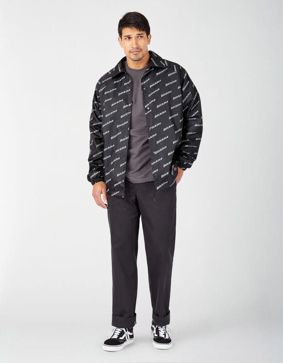 Manteau de style entraîneur Dickies en nylon imprimé - Black White Logo Print (LPL)