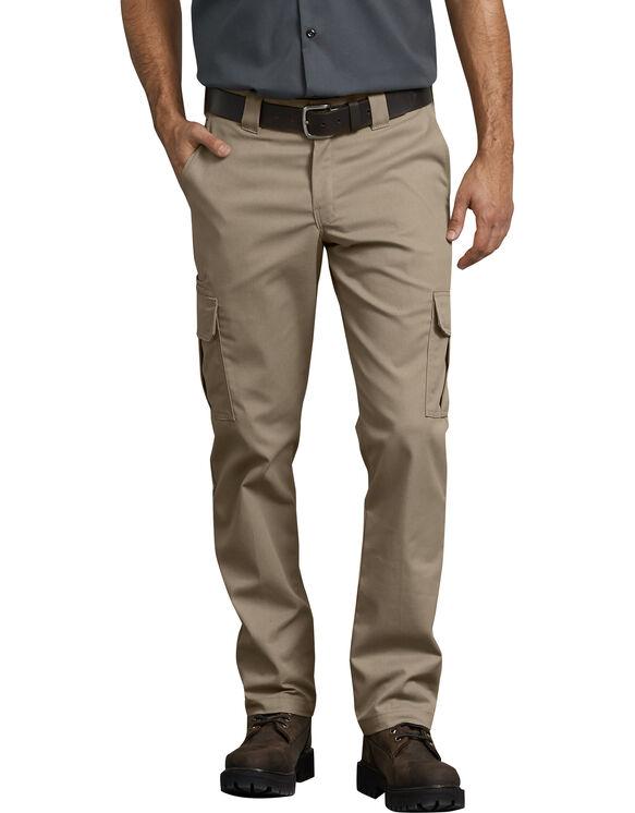 FLEX Slim Fit Straight Leg Cargo Pants - Desert Khaki (DS)