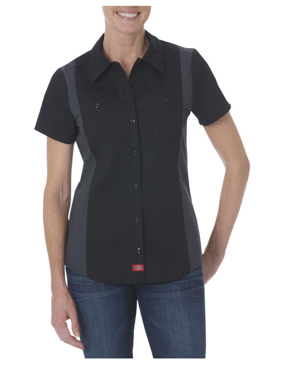 Women's Industrial Short Sleeve Colour Block Shirt - Black Dark Gray Tone (BKCH)