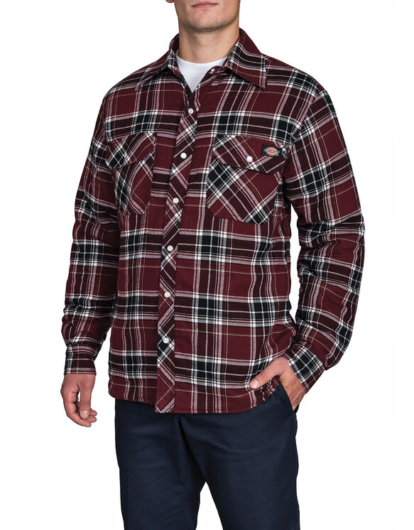Quilted Snap Front Plaid Shirt - CAN PLAID BURG/BLACK F14M004 (R42)
