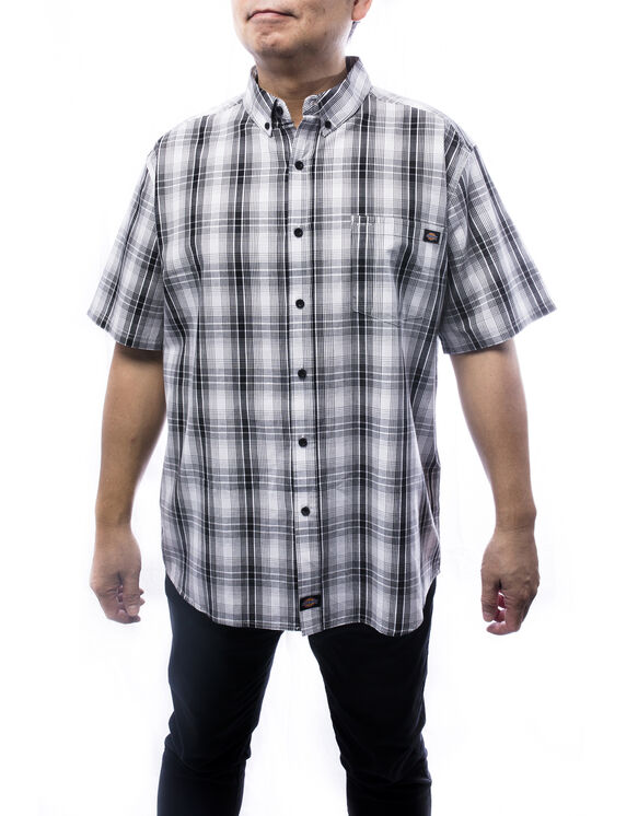 Men's short sleeves plaid shirt - Black (BLK)