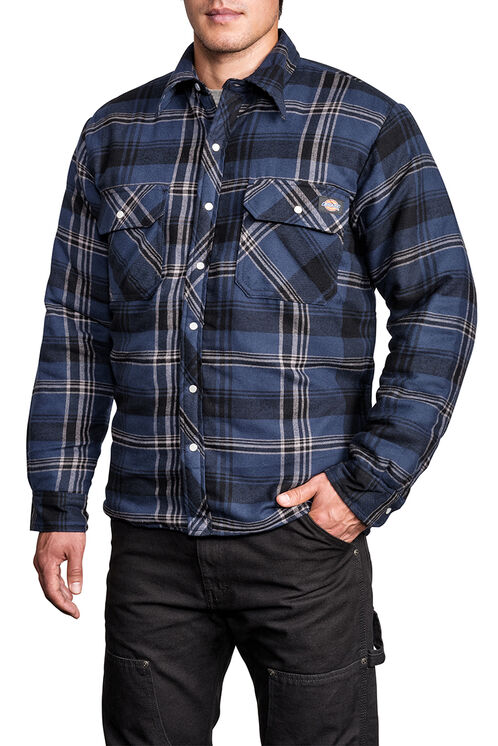 Quilted Snap Front Plaid Shirt - D18005 L PLAID 004 NAVY/SMOKE (CF3)
