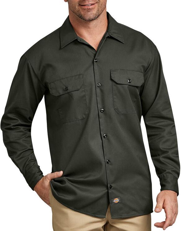 Chemise a manches longues chemise de travail devant solides - Olive Green (OG)