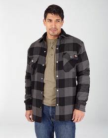 Sherpa Lined Flannel Shirt Jacket with Hydroshield - Black Dark Slate Buffalo Plaid (TP1)