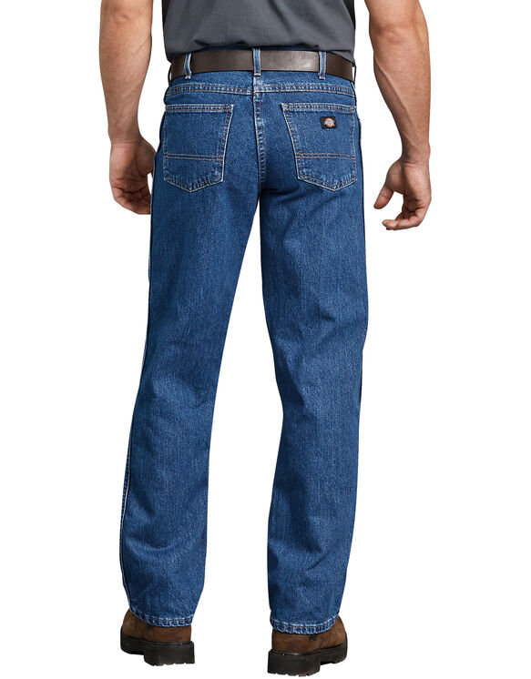Regular Straight Fit 5-Pocket Denim Jean - Stonewashed Indigo Blue (SNB)