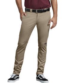 FLEX Skinny Straight Fit Double Knee Work Pants - Desert Khaki (DS)