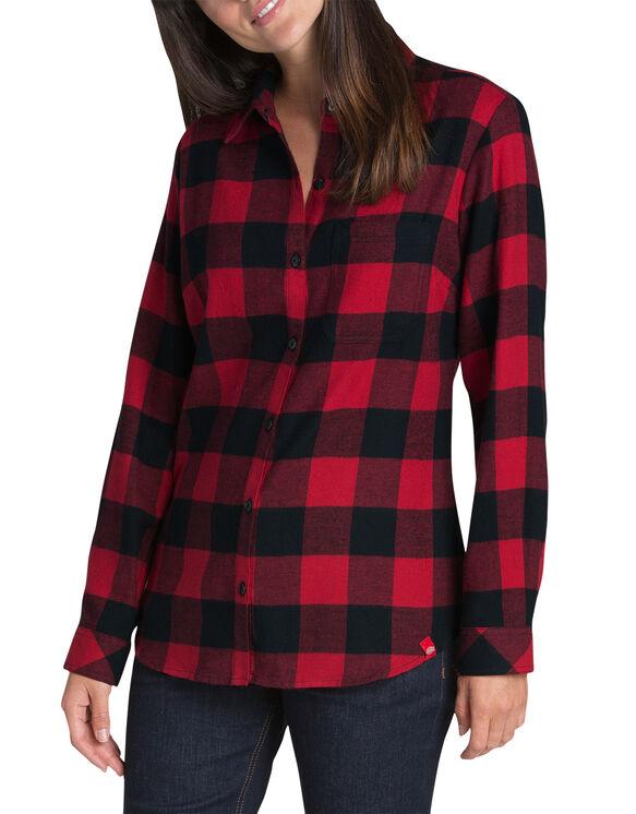 Women's Long Sleeve Plaid Shirt - Black Red  Plaid (PEC)