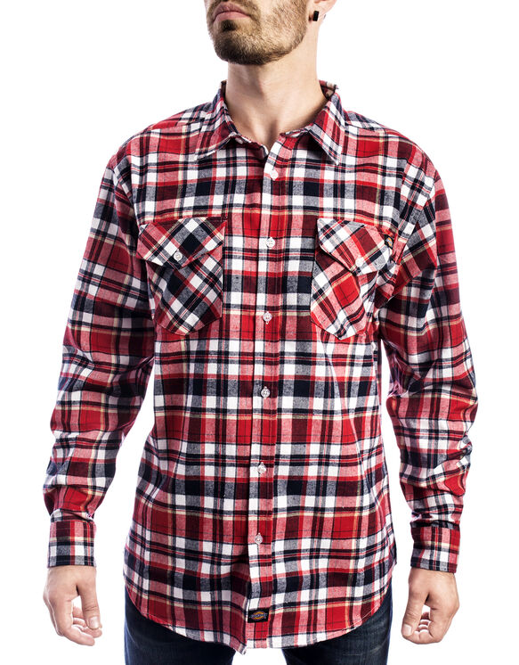 Long Sleeve Plaid Shirt - Black Red Tone (BKER)