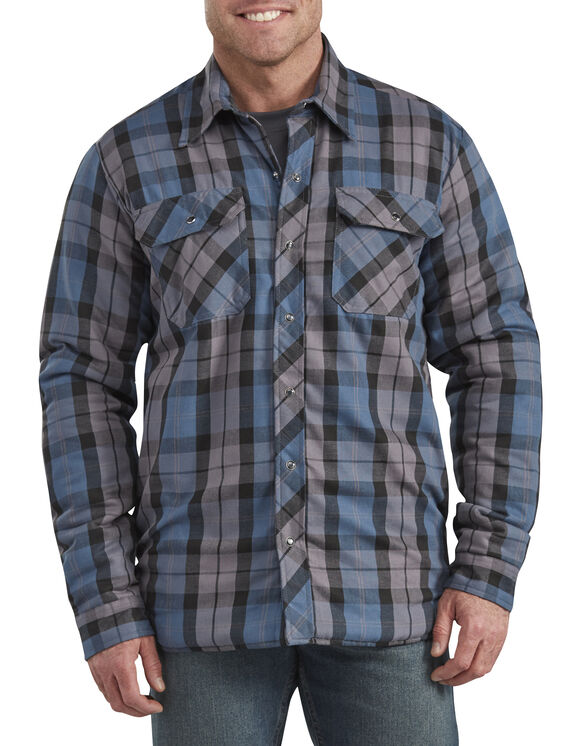 Modern Fit X-Series Snap-Front Shirt Jacket - Navy Blue White Plaid (PUO)