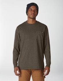 Long Sleeve Heathered Heavyweight Pocket T-Shirt - Chocolate Heather (CTH)