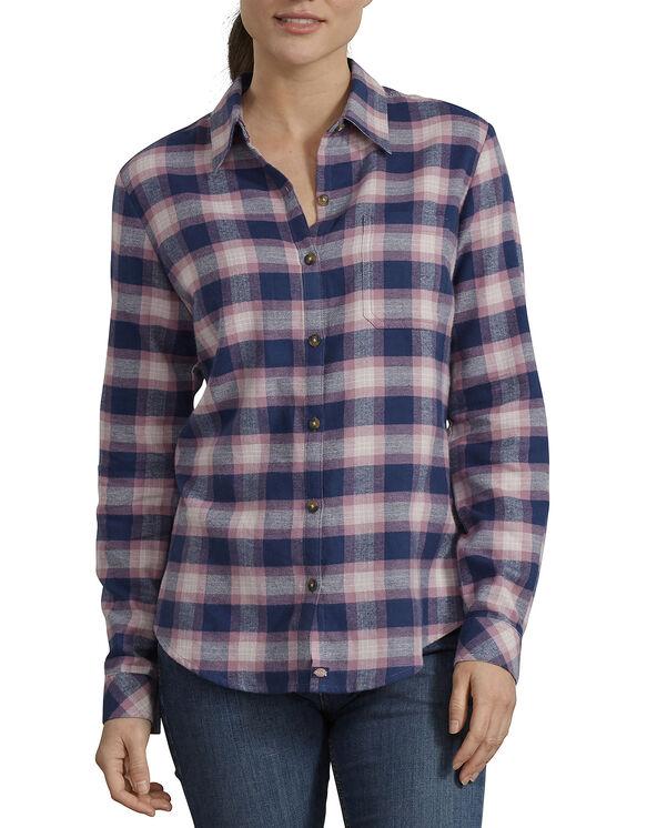 Chemise en flanelle à motif tartan pour femmes - Blue Pink Plaid (DSP)