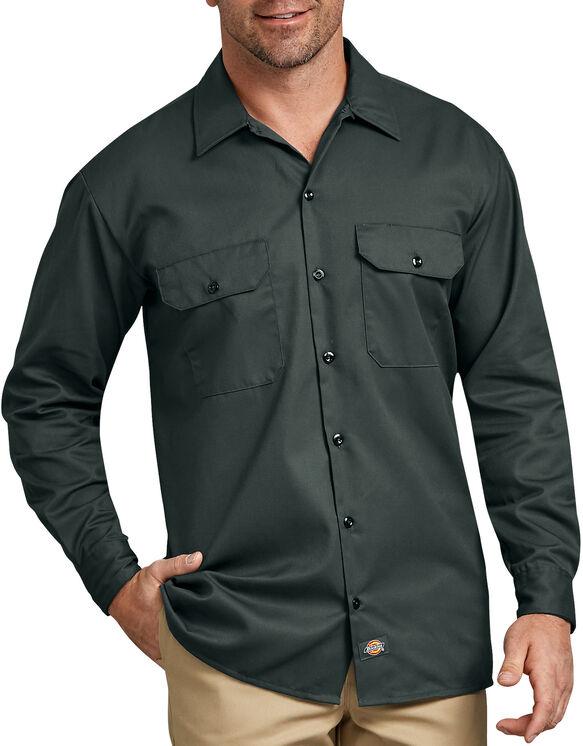 Chemise a manches longues chemise de travail devant solides - Hunter Green (GH)