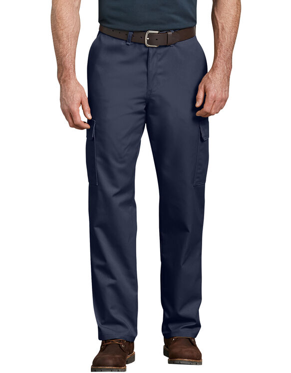 Industrial Relaxed Fit Straight Leg Cargo Pants - Navy Blue (NV)