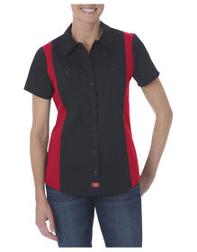 Women's Industrial Short Sleeve Color Block Shirt - Black Red Tone (BKER)