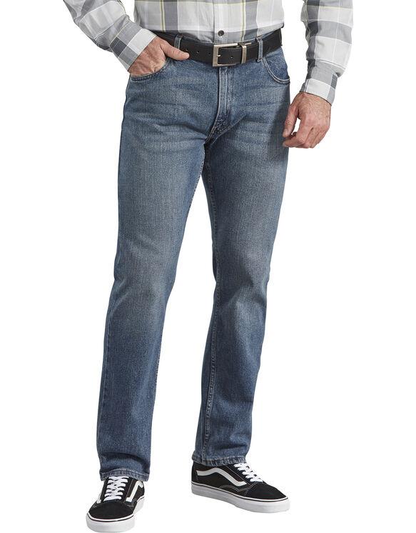 Dickies X-Series Regular Fit Straight Leg 5-Pocket Denim Jeans - Stretch Medium Indigo Blue (MSI)