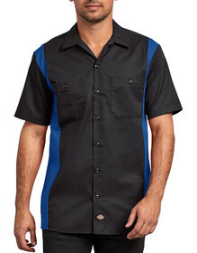 Two-Tone Short Sleeve Work Shirt - Black Blue Tone (BKRB)