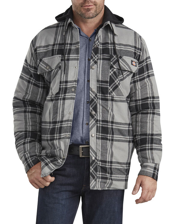Relaxed Fit Icon Hooded Quilted Shirt Jacket - Gray Black Plaid (POK)
