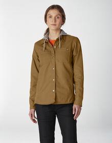 Women's Duck Hooded Shirt Jacket - Brown Duck (BD)