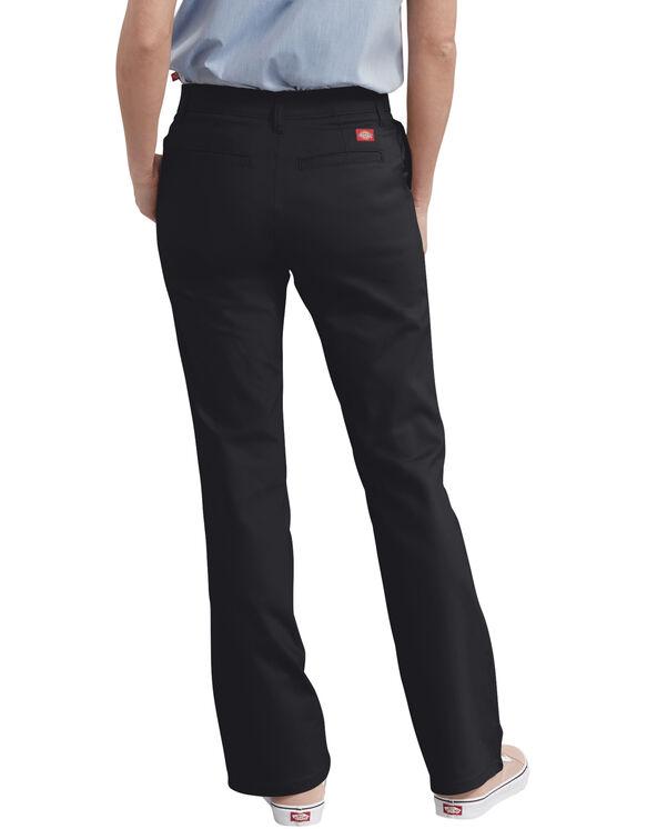 Pantalon en sergé extensible ajusté et semi-évasé pour femmes - Black (BK)