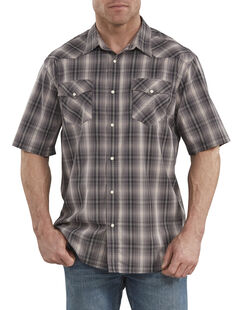 FLEX Icon Relaxed Fit Western Short Sleeve Shirt - Black Peach Plaid (RKWC)