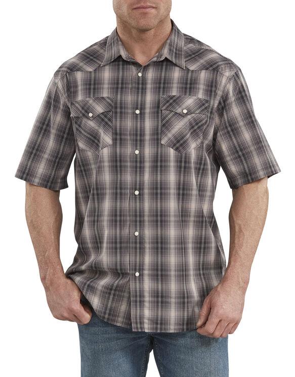 Chemise à manches courtes emblématique FLEX de style western, coupe décontractée - Black Peach Plaid (RKWC)