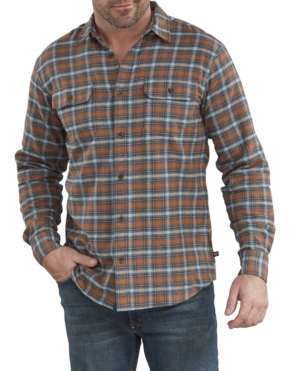 Relaxed Fit Icon Long Sleeve Flannel Shirt - Brown & Blue Ombre Plaid (WWO)