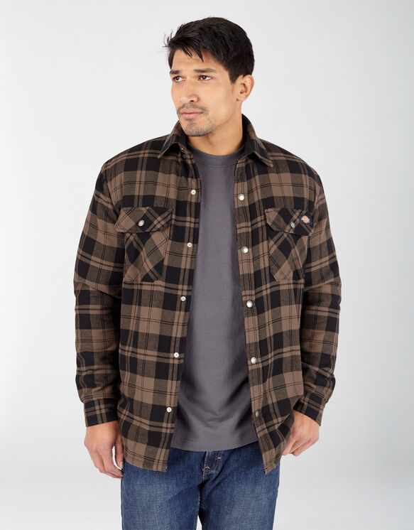 Sherpa Lined Flannel Shirt Jacket with Hydroshield - Mushroom Plaid (UP1)