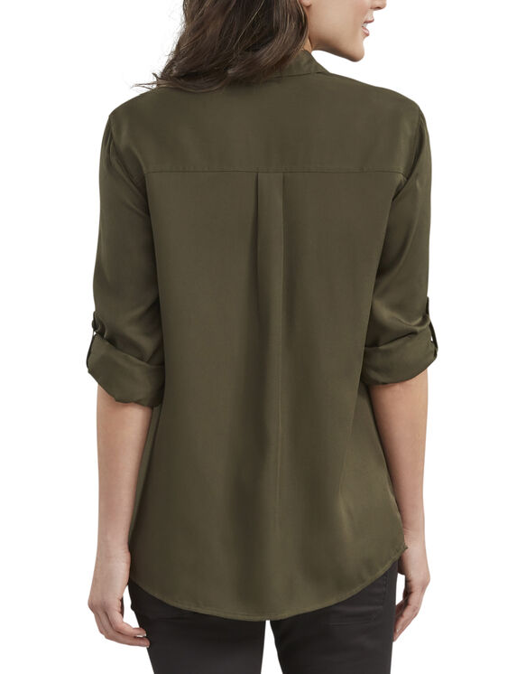 Women's Long Sleeve Button-Up Shirt - Rinsed Tactical Green (RGC)