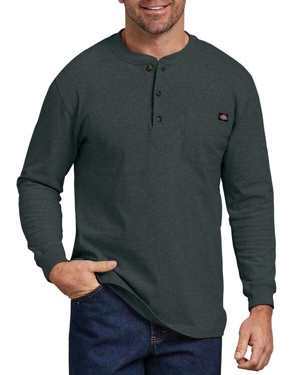 Long Sleeve Heavyweight Henley Shirt - Hunter Green (GH)