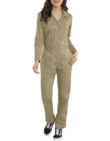 Women's Long Sleeve Cotton Coverall - Military Khaki (KH)