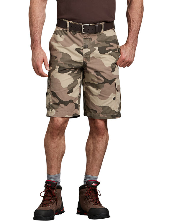 "11"" Relaxed Fit Lightweight Ripstop Cargo Short - Pebble Brown/Black Camo (SBOC)"