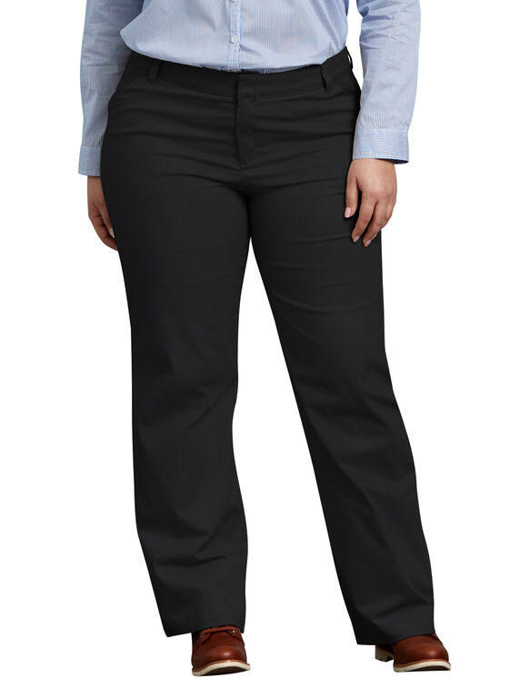 Women's Relaxed Fit Straight Leg Stretch Twill Pants (Plus) - BLACK (BK)