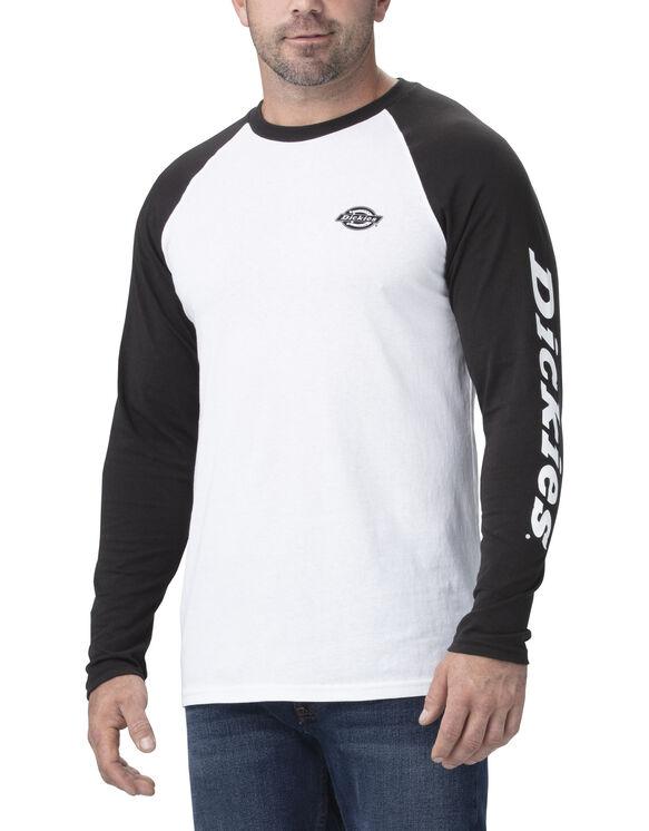 Long Sleeve Graphic Baseball T-Shirt - White Black (WHBK)