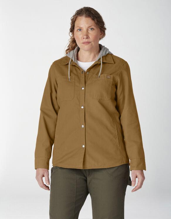 Women's Plus Hooded Duck Shirt Jacket - Brown Duck (BD)