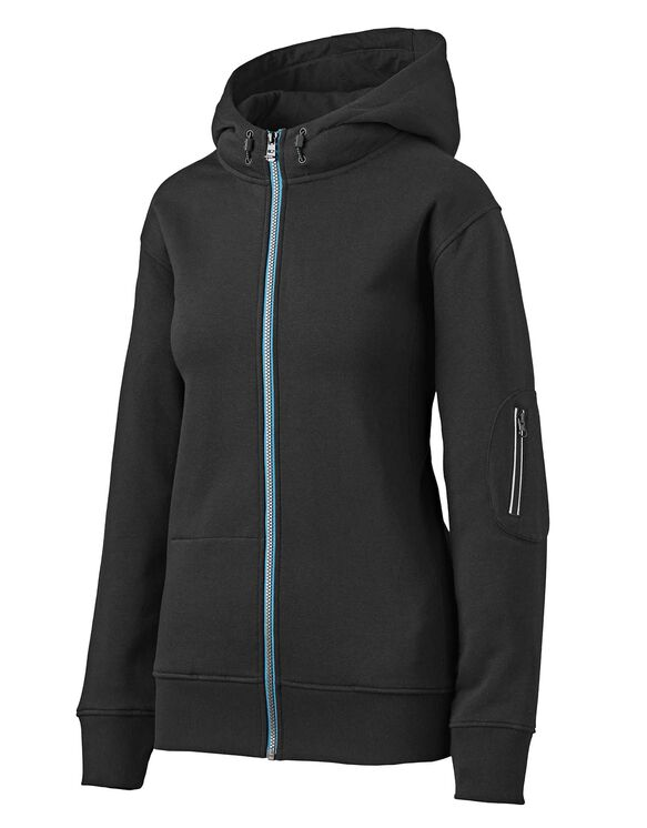 Women's Performance Workwear Full Zip Fleece Hoodie - Black (BK)