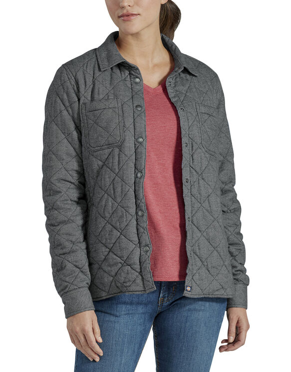 Women's Quilted Shirt Jacket - Gray Two Tone Herringbone (ATH)