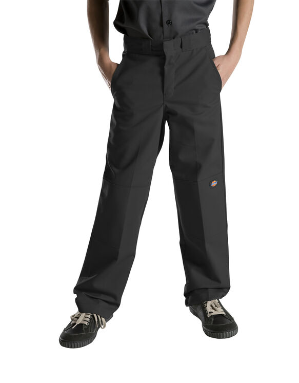 Boys' FlexWaist® Relaxed Fit Straight Leg Double Knee Pants, 8-20 - Black (BK)