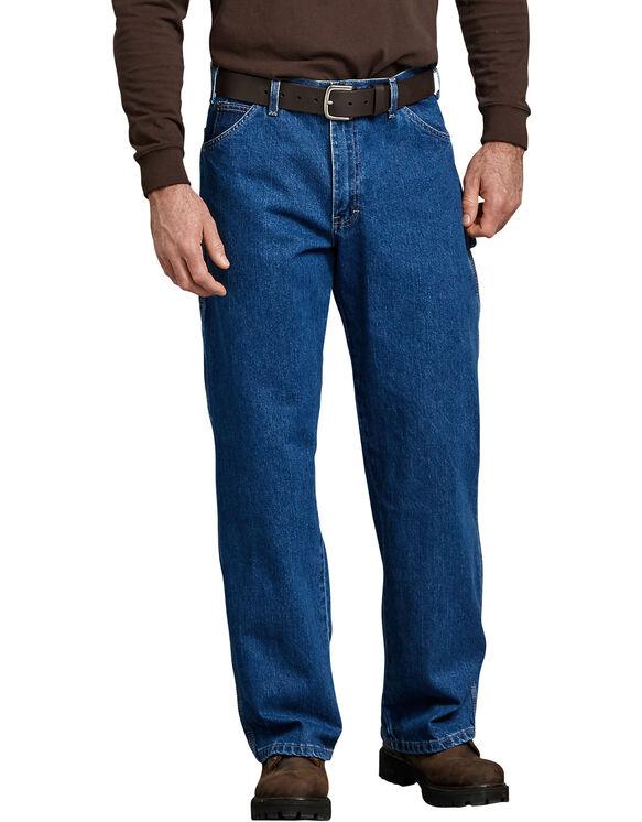 Jeans menuisier en denim, coupe ample - Bleu indigo délavé (SNB)