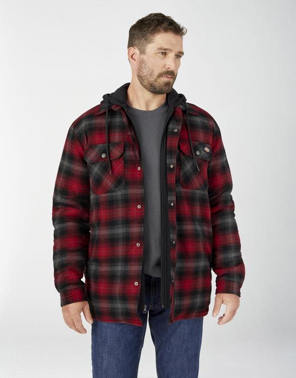 Veste-chemise en flanelle avec capuchon en molleton et technologie Hydroshield - English Red Black Ombre Plaid (NP1)