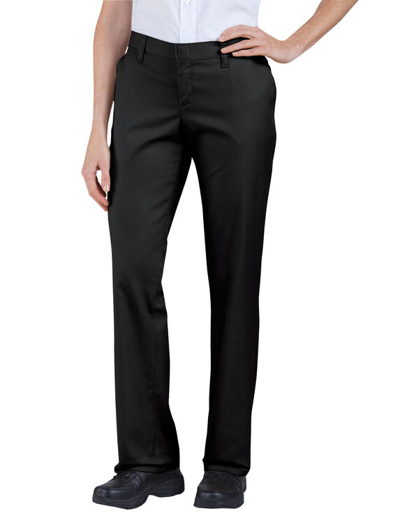 Women's Premium Relaxed Straight Flat Front Pants - Black (BK)