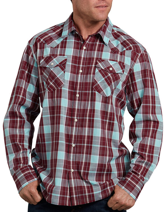 Relaxed Fit Icon Long Sleeve Plaid Western Shirt - Burgundy Blue Plaid (RWUI)