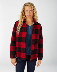 Women's Sherpa Lined Flannel Chore Coat - English Red Black Buffalo Plai (PSF)
