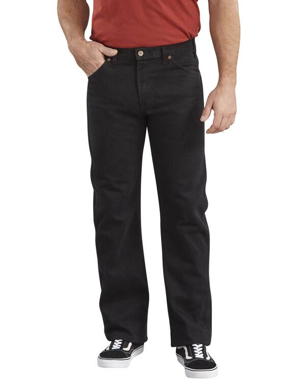 Regular Straight Fit 6-Pocket Denim Jeans - Blackest Black (RBB)