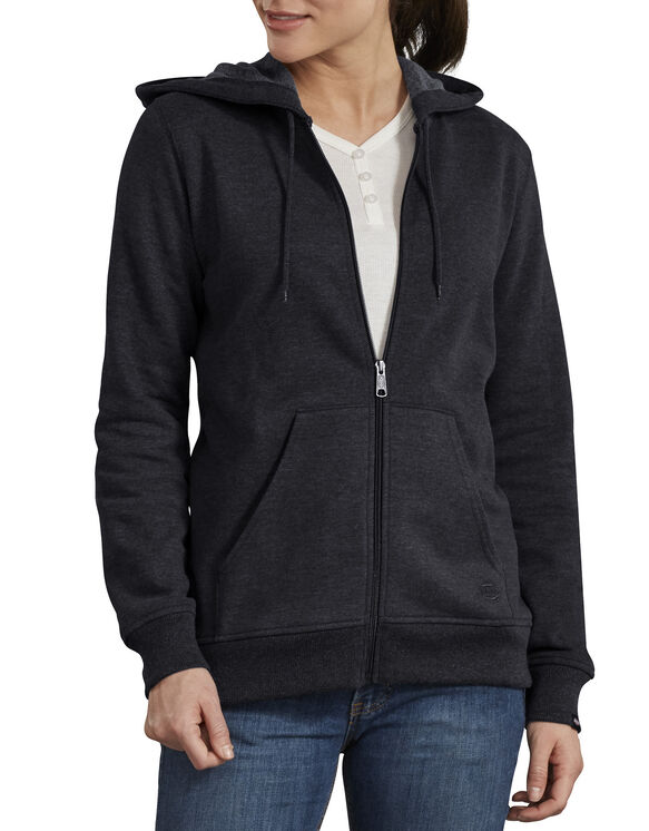 Women's Zip Front Hooded Jacket - Black (KBK)