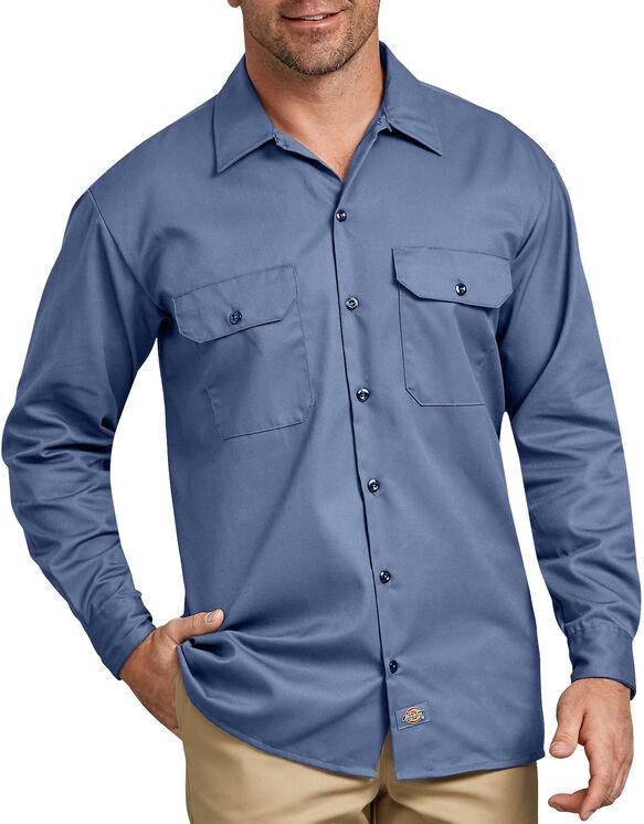 Chemise a manches longues chemise de travail devant solides - Gulf Blue (GB)