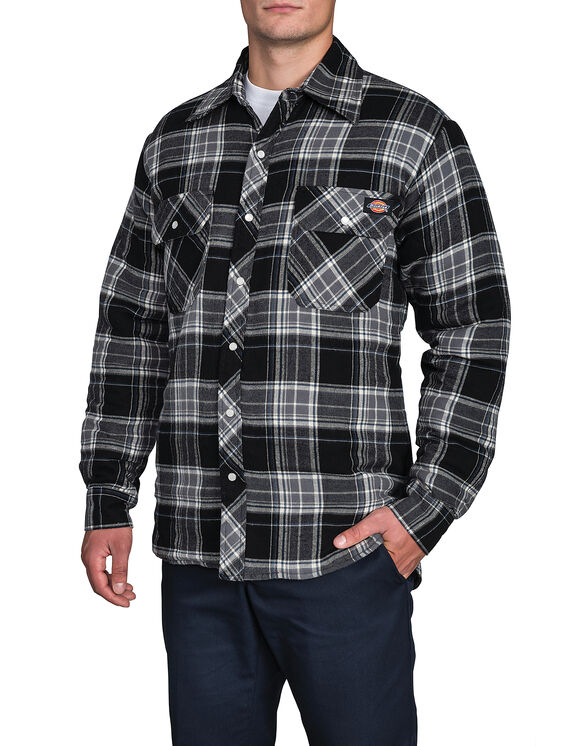 Quilted Snap Front Plaid Shirt - CANADA PLAID BLACK/BLUE F14M00 (B42)