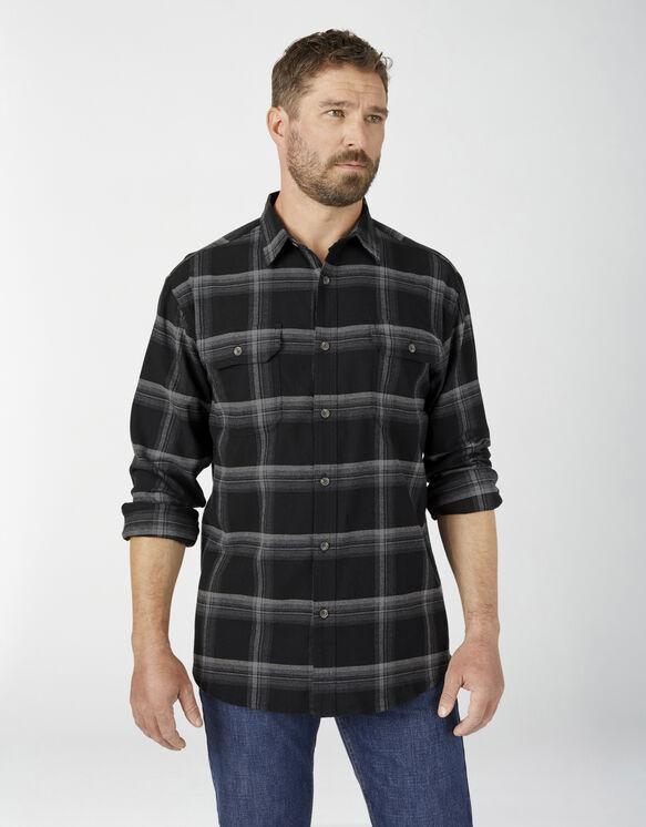 FLEX Long Sleeve Flannel Shirt - Black Gray Plaid (1BP)