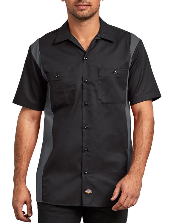 Two-Tone Short Sleeve Work Shirt - Black Dark Gray Tone (BKCH)