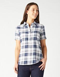 Women's Short Sleeve Woven Popover Shirt - Blue Surf Spray Plaid (UIP)